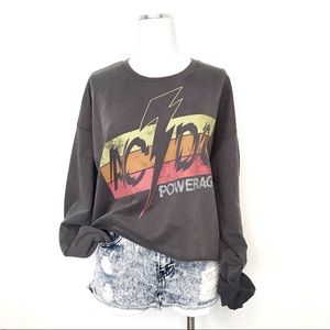 NWOT AC/DC Trendy Graphic Band Crop Sweatshirt XL